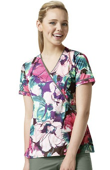 Clearance Wonderflex By Wonderwink Women's Mock Wrap Floral Print Scrub Top