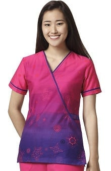 Wonderflex By Wonderwink Women's Mock Wrap Ombre Print Scrub Top