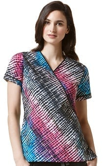 Clearance Wonderflex by Wonderwink Women's Mock Wrap Abstract Print Scrub Top