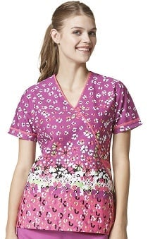 Clearance WonderFLEX by Wonderwink Women's Mock Wrap Fleur De Me Print Scrub Top