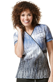 Wonderflex by Wonderwink Women's Mock Wrap Abstract Print Scrub Top