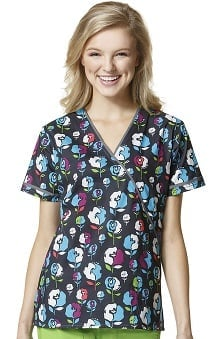 WonderFLEX by Wonderwink Women's Mock Wrap Melody Print Scrub Top