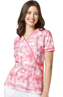 WonderFLEX by WonderWink Women's Mock Wrap Geometric Print Scrub Top