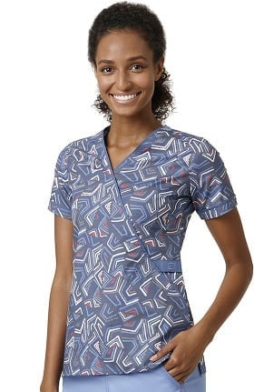 Clearance WonderFLEX by WonderWink Women's Mock Wrap Geometric Print Scrub Top