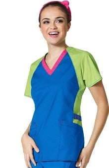 WonderFLEX by WonderWink Women's V-Neck Color Block Solid Scrub Top