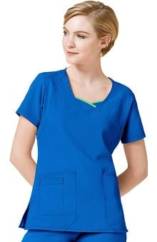 Four Stretch by Wonderwink Women's Double V-Neck Solid Scrub Top