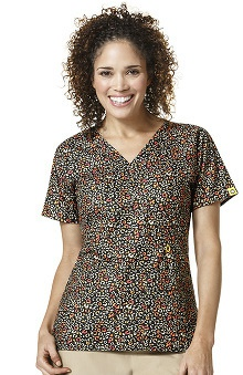Origins By Wonderwink Women's Mock Wrap Leopard Print Scrub Top