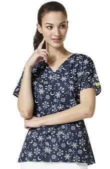 Origins by WonderWink Women's Mock Wrap Snowflake Print Scrub Top