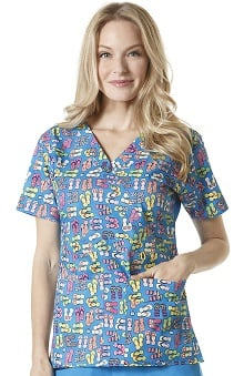 WonderWink Women's Mock Wrap Empire Flip-Flop Print Scrub Top