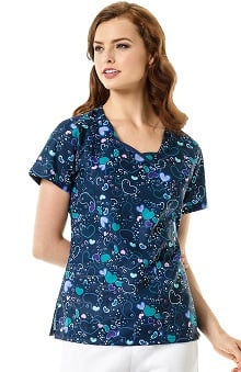 Four Stretch by WonderWink Women's Modified V-Neck Heart Print Scrub Top