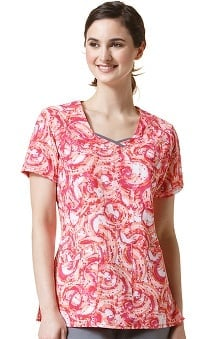 Clearance Four Stretch By Wonderwink Women's Double V-Neck Abstract Print Scrub Top