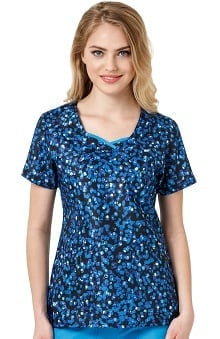 Four Stretch By Wonderwink Women's Double V-Neck Dot Print Scrub Top