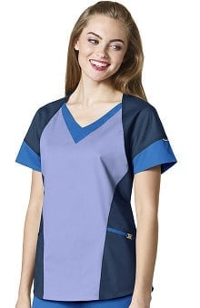 7Flex by WonderWink Women's V-Neck Color Block Solid Scrub Top