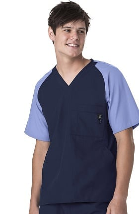 Wink Men by WonderWink Men's Raglan Contrast Sleeve Solid Scrub Top