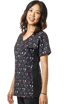 Four Stretch by WonderWink Women's Mock Wrap V-Neck Pet Print Scrub Top