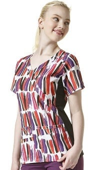 Clearance Four Stretch By Wonderwink Women's Mock Wrap V-neck Paint Stripe Print Scrub Top