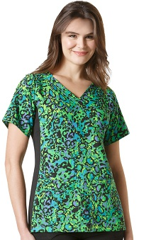 Four Stretch by WonderWink Women's Mock Wrap V-Neck Animal Print Scrub Top