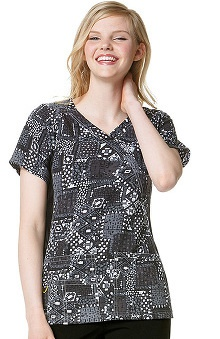 Clearance Four Stretch by WonderWink Women's Mock Wrap V-Neck Abstract Print Scrub Top