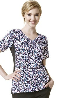 Clearance Four Stretch by Wonderwink Women's Mock Wrap Animal Print Scrub Top