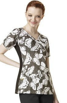Four Stretch by WonderWink Women's Mock Wrap Butterfly Print Scrub Top
