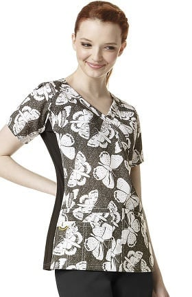 Clearance Four Stretch By Wonderwink Women's Mock Wrap V-neck Butterfly Print Scrub Top