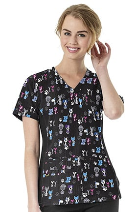 Four Stretch by WonderWink Women's Mock Wrap V-Neck Pets Print Scrub Top