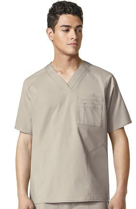 WonderFLEX by WonderWink Men's V-Neck Solid Scrub Top
