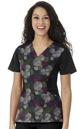 Four Stretch by WonderWink Women's Mock Wrap Geometric Print Scrub Top