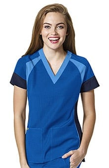 Four Stretch by WonderWink Women's V-Neck Color Block Solid Scrub Top
