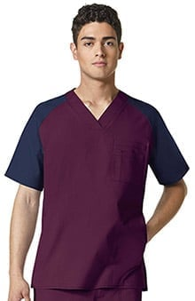 WonderFLEX by WonderWink Men's V-Neck Color Block Solid Scrub Top
