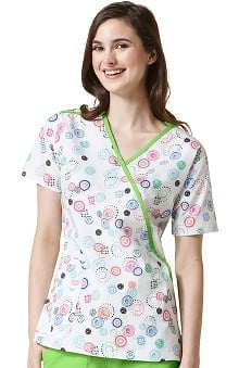 Origins by Wonderwink Women's Mock Wrap Dot Print Scrub Top