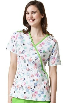 Clearance Origins by Wonderwink Women's Mock Wrap Dot Print Scrub Top