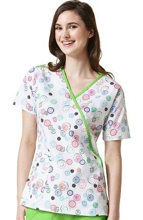 Clearance Origins by Wonderwink Women's Mock Wrap Dot Print Scrub Top
