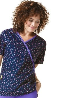 Origins by Wonderwink Women's Mock Wrap Geometric Print Scrub Top
