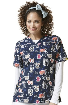 Origins by Wonderwink Women's V-Neck Dog Print Scrub Top