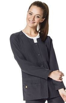 Four-Stretch by WonderWink Women's Button Front Solid Scrub Jacket