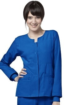Four Stretch by WonderWink Women's Button Front Solid Scrub Jacket