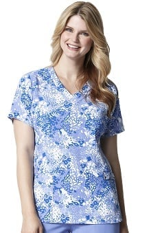 Clearance Easy Fit by Wonderwink Women's V-Neck Blue Animal Print Scrub Top