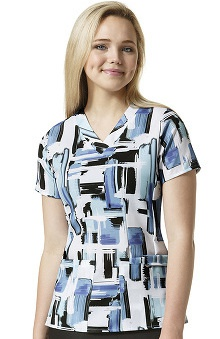 Easy Fit By Wonderwink Women's V-neck Abstract Print Scrub Top