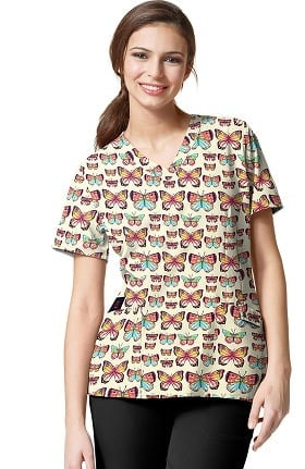 Clearance Easy Fit by WonderWink Women's V-Neck Butterfly Print Scrub Top