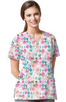 Clearance Easy Fit by Wonderwink Women's V-Neck Jewel Tunes Print Scrub Top