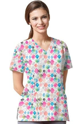 Clearance Easy Fit by Wonderwink Women's V-Neck Geometric Print Scrub Top