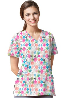 Easy Fit by Wonderwink Women's V-Neck Jewel Tunes Print Scrub Top