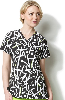 Clearance Easy Fit by Wonderwink Women's V-Neck XOXO Print Scrub Top