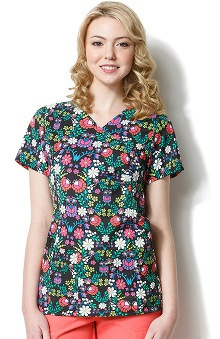 Clearance Easy Fit by Wonderwink Women's V-Neck Boho Soho Floral Print Scrub Top