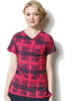 Clearance Easy Fit by Wonderwink Women's V-Neck Rattle Battle Animal Print Scrub Top
