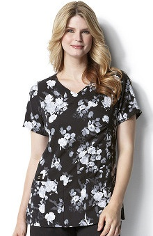 Clearance Easy Fit by Wonderwink Women's V-Neck Rose After Dark Print Scrub Top