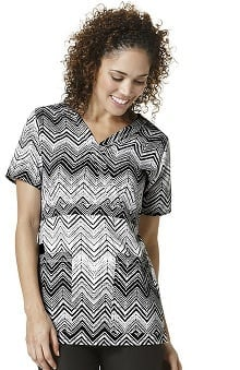 Clearance Easy Fit By Wonderwink Women's Mock Wrap Zig-zag Print Scrub Top