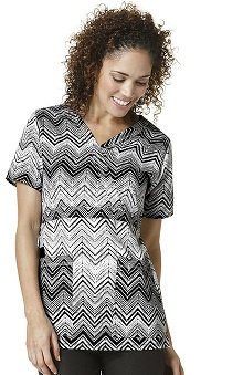 Easy Fit By Wonderwink Women's Mock Wrap Zig-zag Print Scrub Top