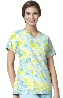 Easy Fit by WonderWink Women's Mock Wrap Floral Print Scrub Top